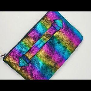 Aimee Kestenberg Rainbow Leather Wristlet NWT